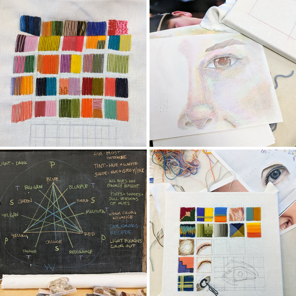 Stitching samples, color theory explanations, and colored pencil drawings from Ruth's Penland workshop
