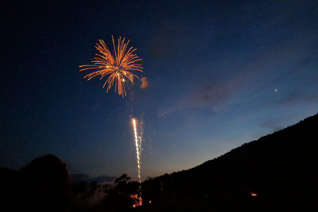fireworks exploding over the knoll
