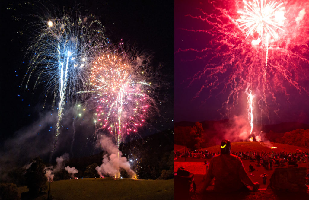two views of Penland's fireworks finale