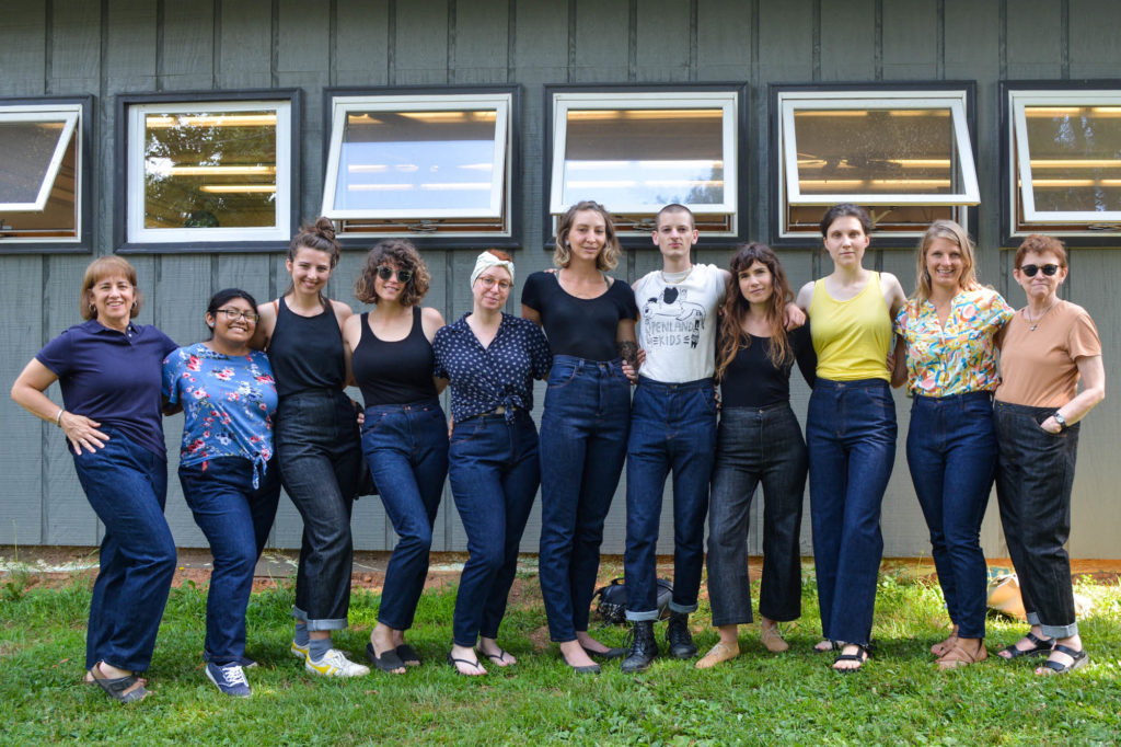 Ana Toth's textiles students pose in their new, handmade jeans