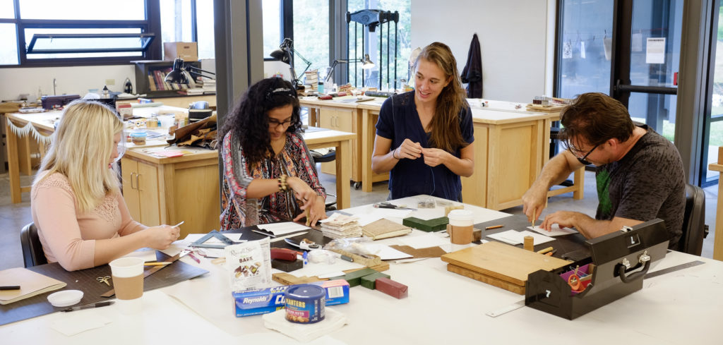 Beth Schaible (third From Left) Teaching A Bookbinding Workshop At Penland  In 2017.