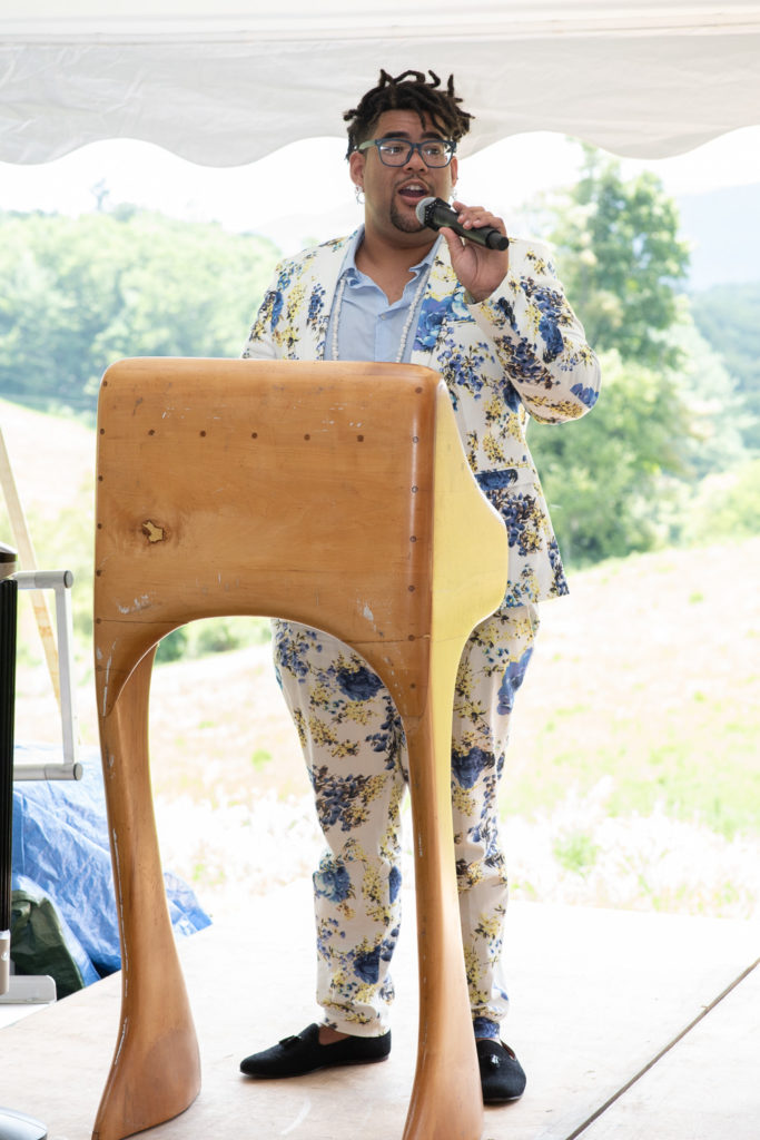 Corey Pemberton served as this year's auction captain. He also had the best suit.