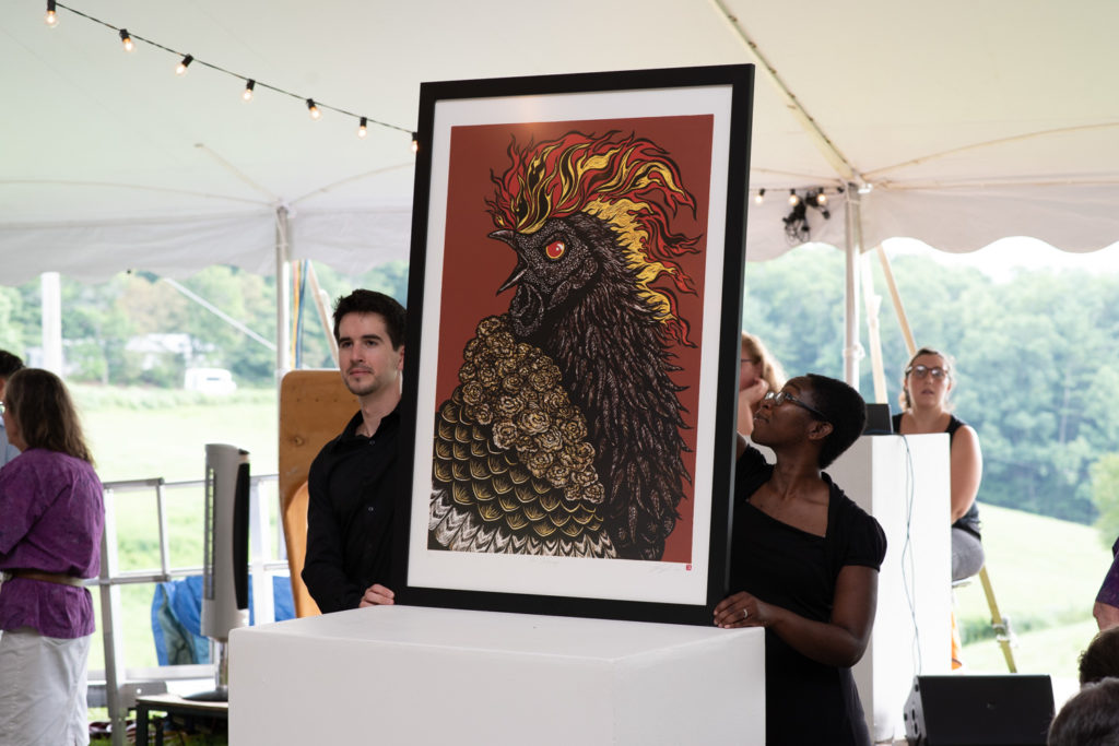 """The Challenger,"" a large reduction woodcut by Jun Lee up for auction."