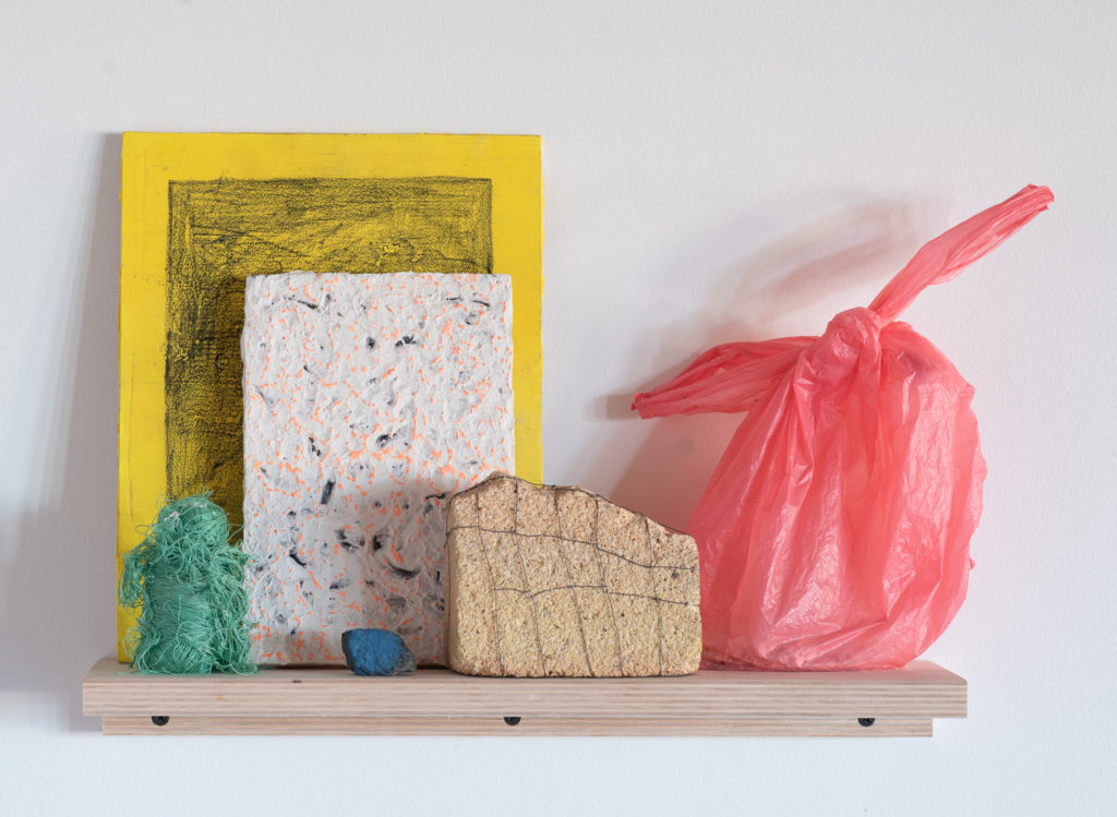 "Katherine Toler and Devyn Vasquez, ""Dog Party"" (detail), plywood, found objects"