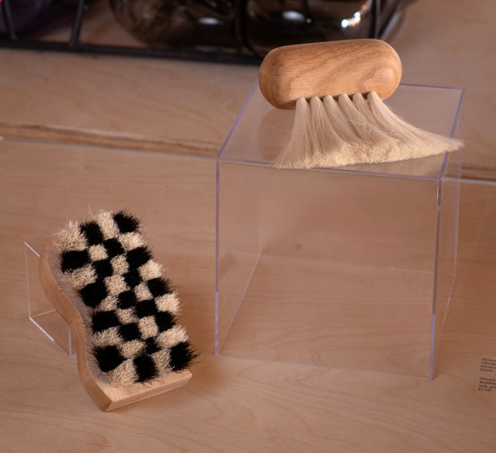 "Devyn Vasquez, ""Checkered Brush,"" birdseye maple, horse hair; ""Bubble Brush,"" ash, goat hair"
