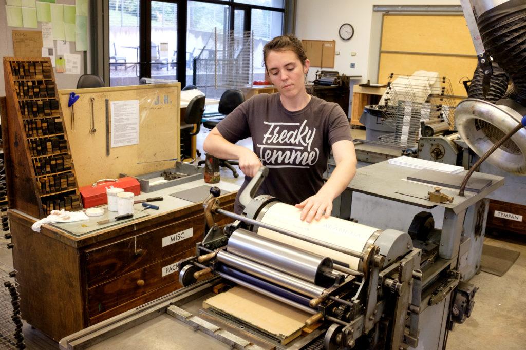 pulling prints on the vandercook press