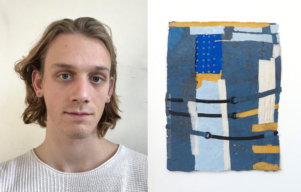 Portrait of Scott next to a piece of Scott's work
