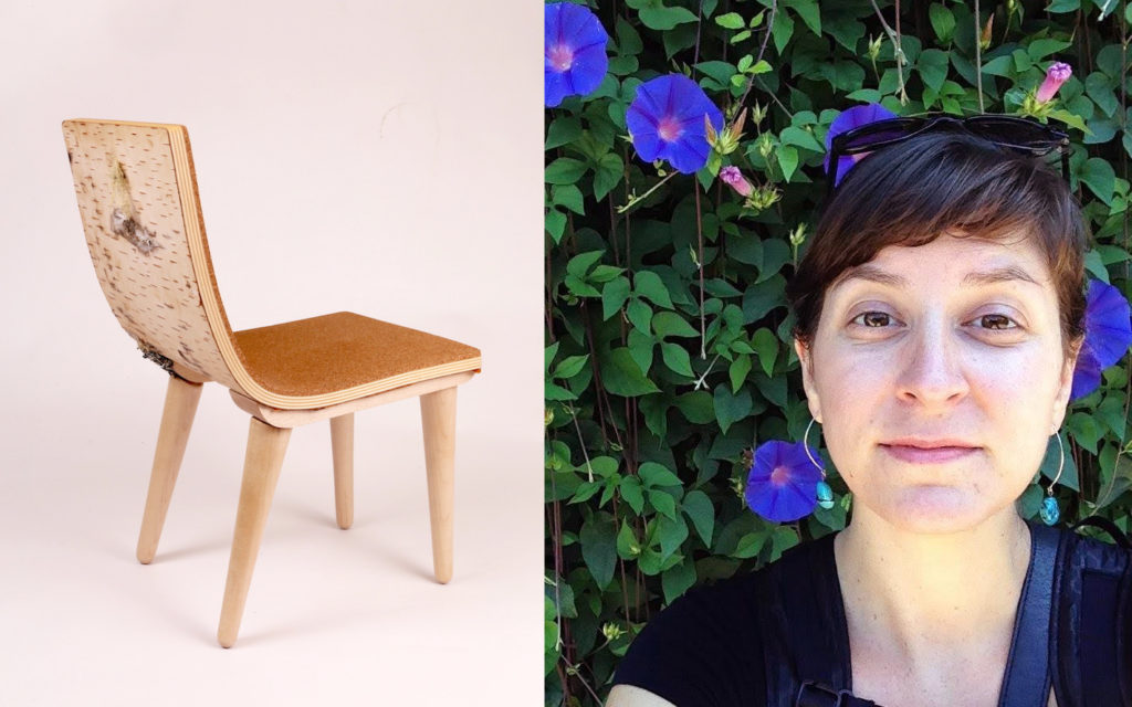 Chair by Erica Schuetz and portrait of Erica