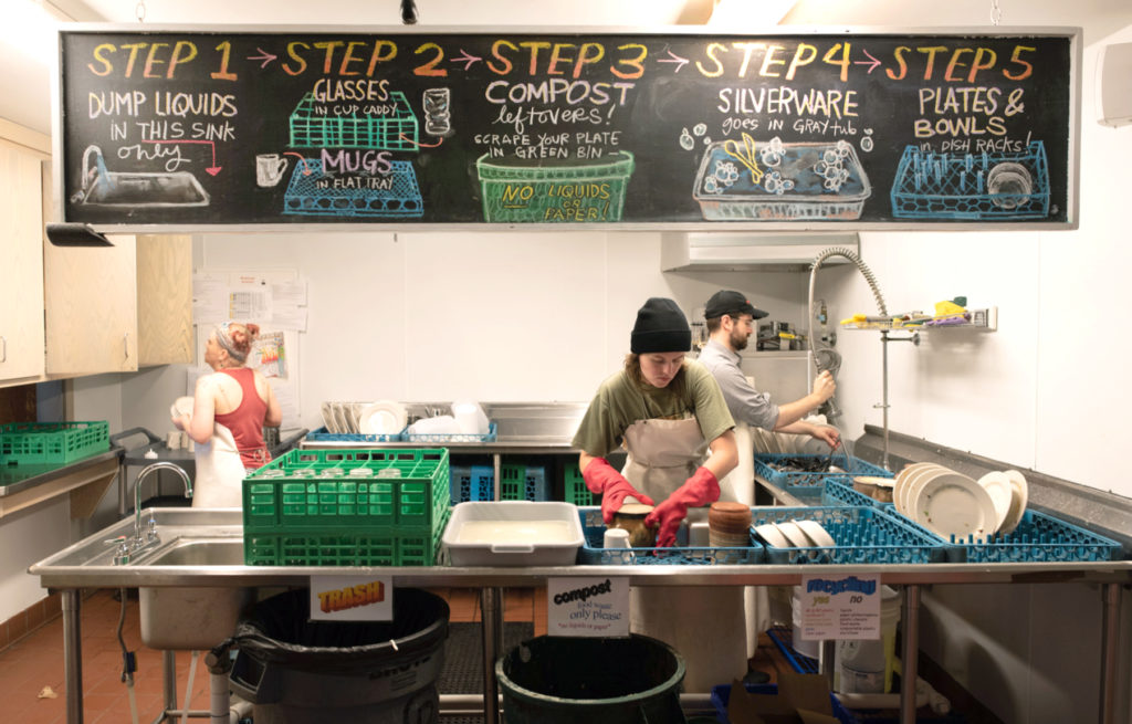 work-study students at Penland during their shift in the dish room