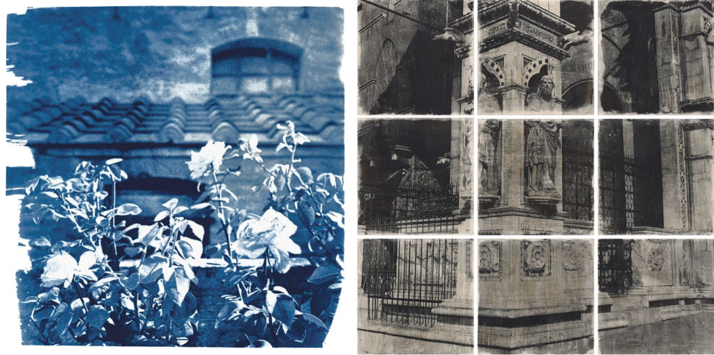 two prints by Jill Enfield, one of roses in front of an Italian-style villa, one of a carved column on an ornate building