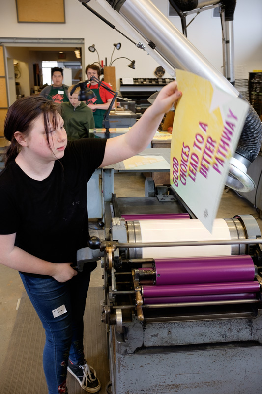 Printing a poster on the letterpress