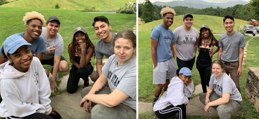 Shanti, Tyrik, and four friends pose in front of the Penland knoll