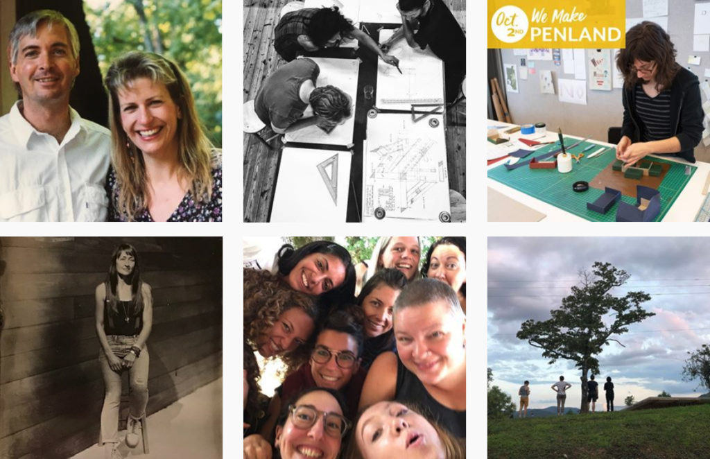 six photos tagged with #WeMakePenland, including a couple group portaits, a woman working in letterpress, students drawing wood plans, and people outside under a tree at Penland