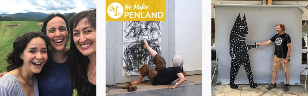 Three posts tagged #WeMakePenland, including a group photo, a woman drawing with her foot, and a guy posing at the photo booth