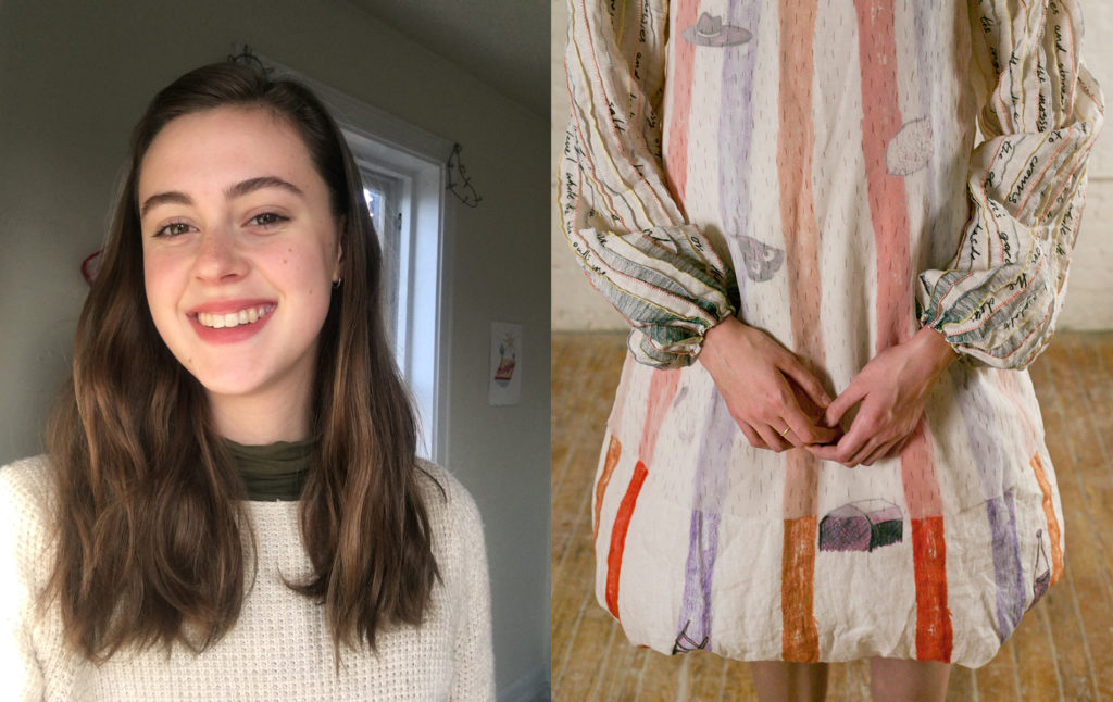 Portrait of Sarina plus image of one of her garments