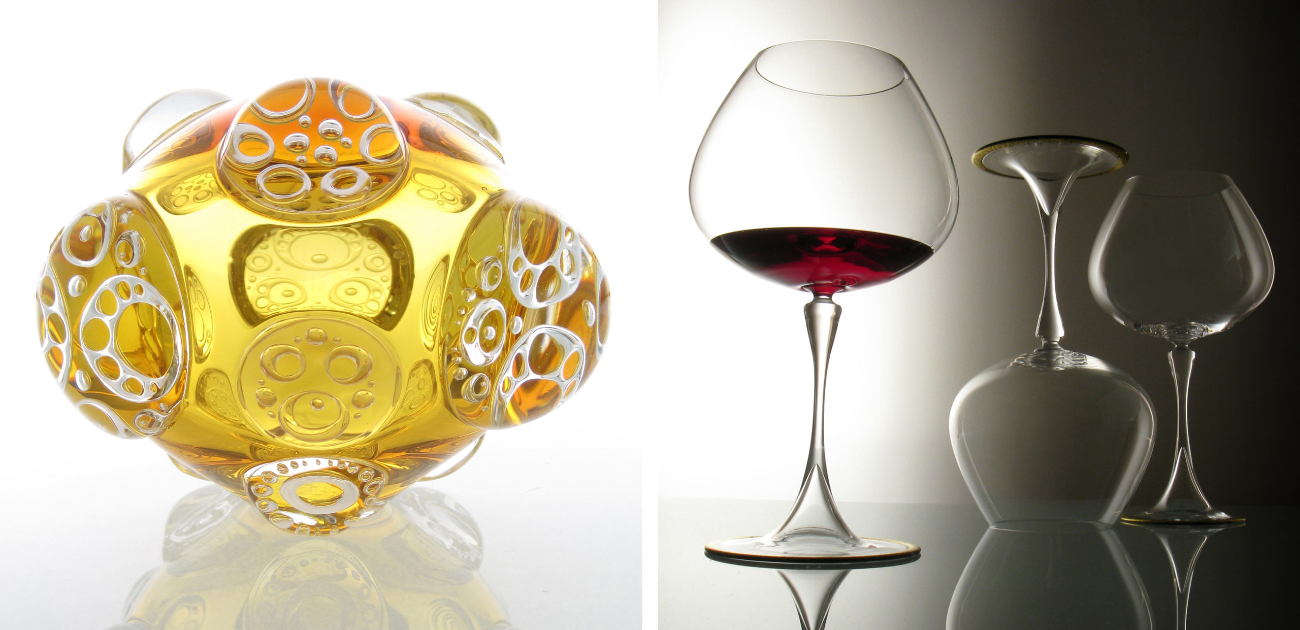 glass sculpture and wine glasses by Dan Mirer