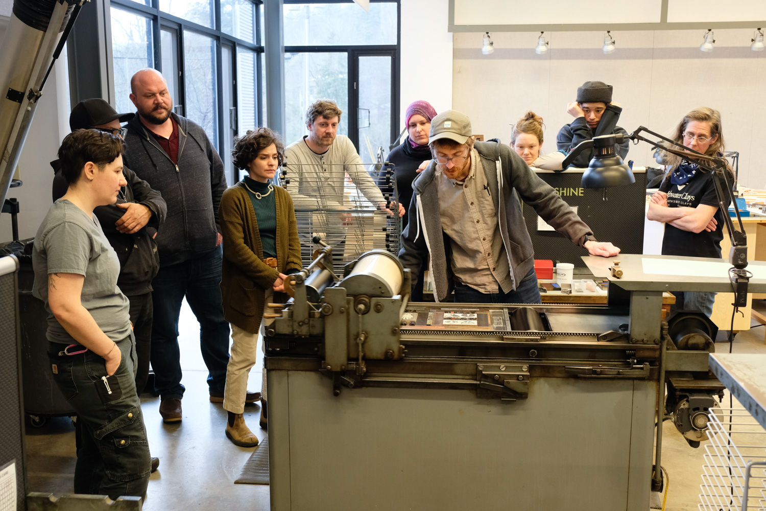 Adam Leestma giving a letterpress demonstration
