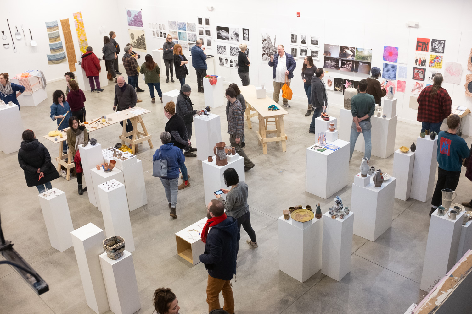 view of the final winter residency show and tell