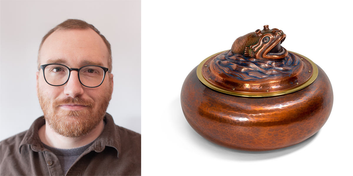 Adam Whitney portrait and raised copper box with embellished lid