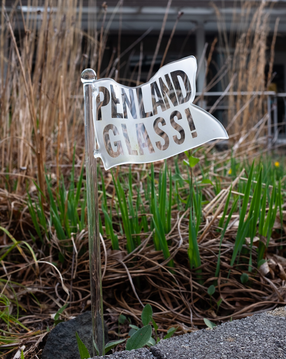 A glass flag outside the Penland glass studio.