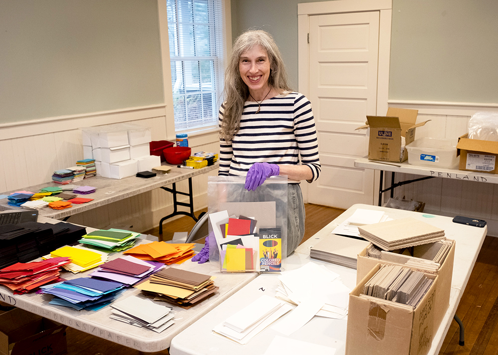 Stacey Lane putting together art supply packets