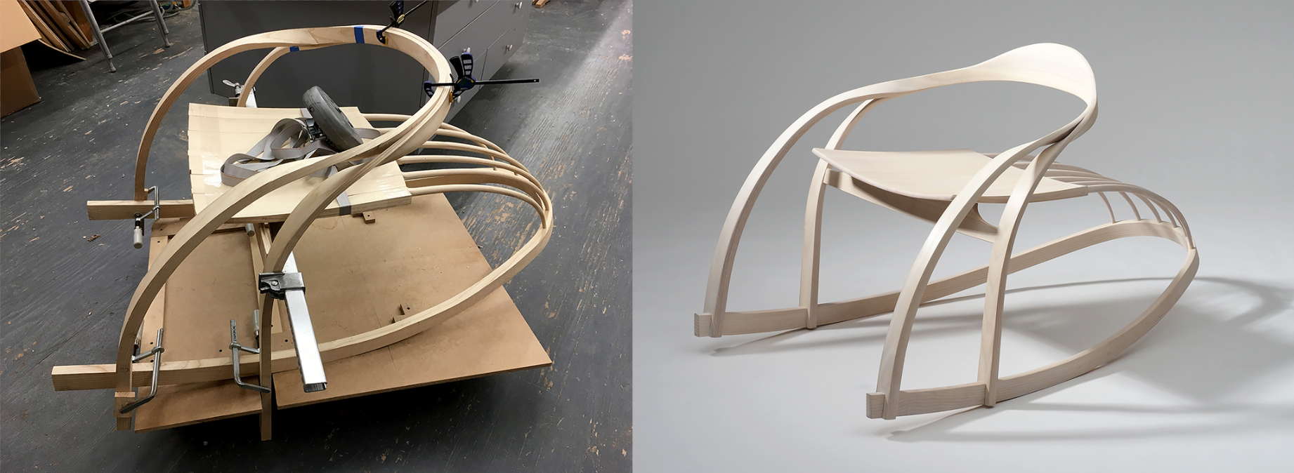in-process and completed chair by Yuri Kobayashi