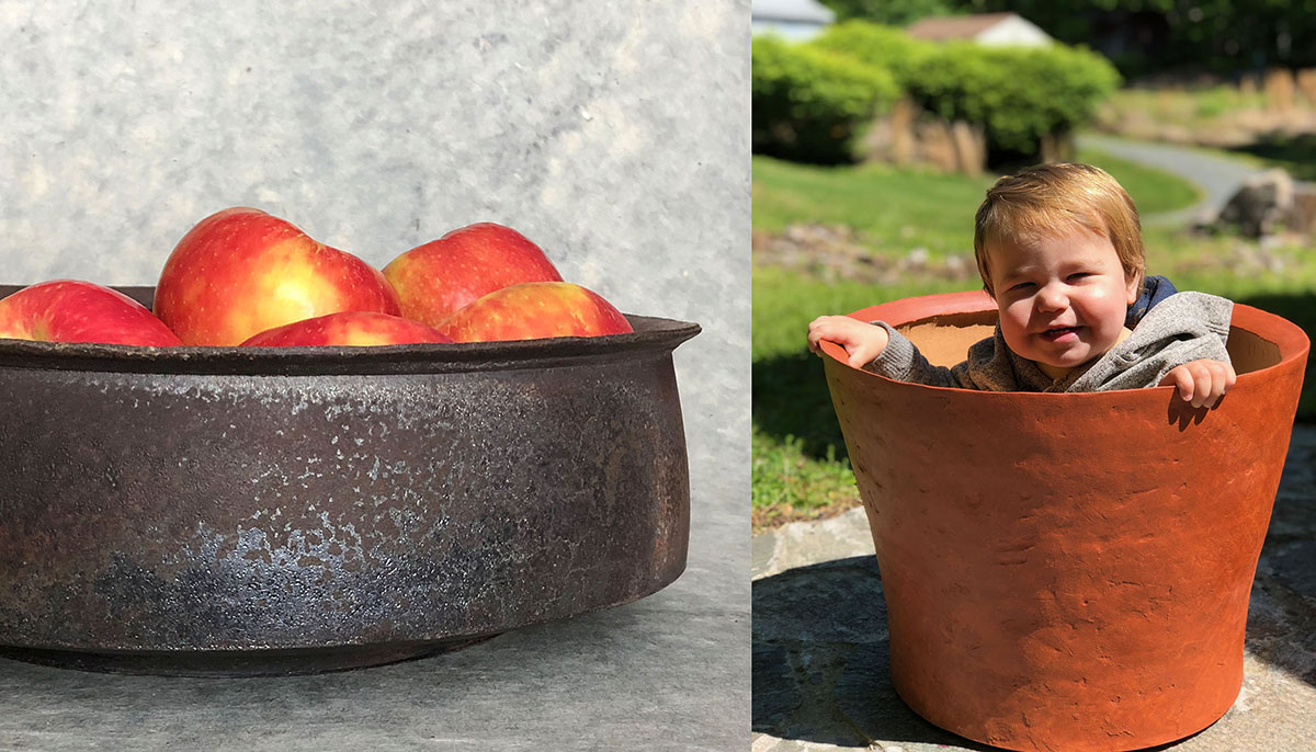 two pots by Lindsay Oesteritter, one with apples and one with her child inside