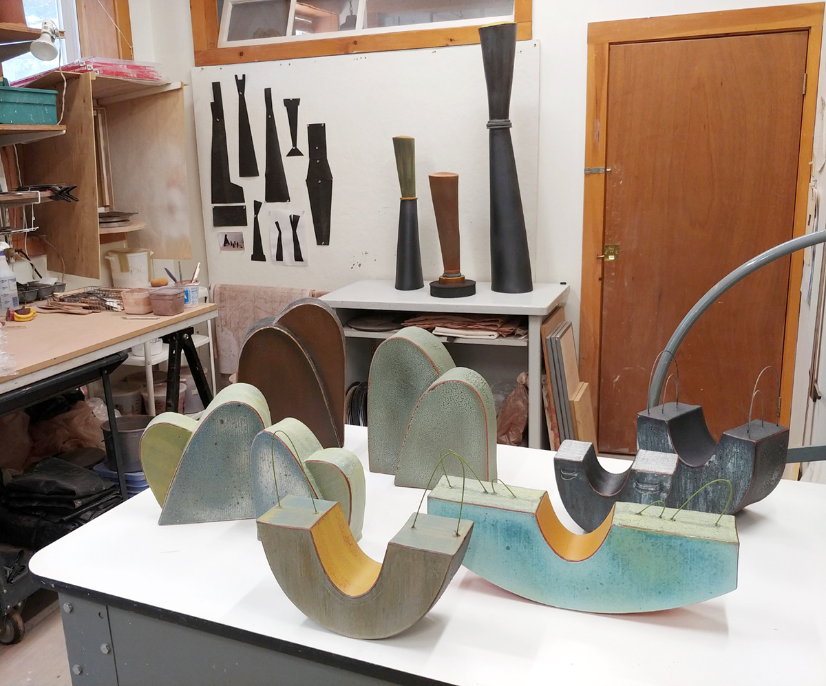 sculptural ceramics in Lynn Duryea's studio