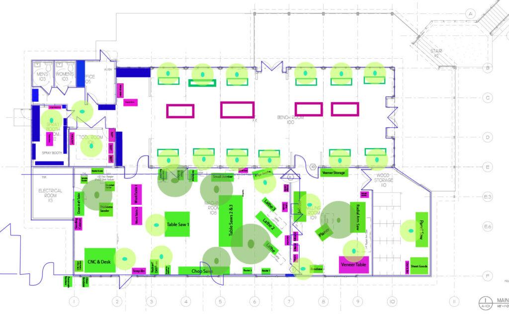 Floor plan of the Penland wood studio