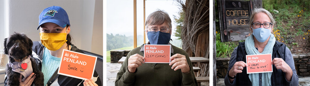 "Three Penland staff members with ""We Make Penland"" postcards"