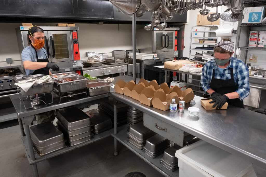 Penland kitchen staff preparing to-go lunches