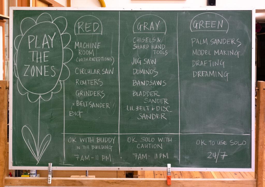 Chalkboard in the Penland wood studio.