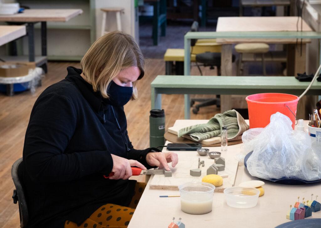Tasha McKelvey in the Penland clay studio