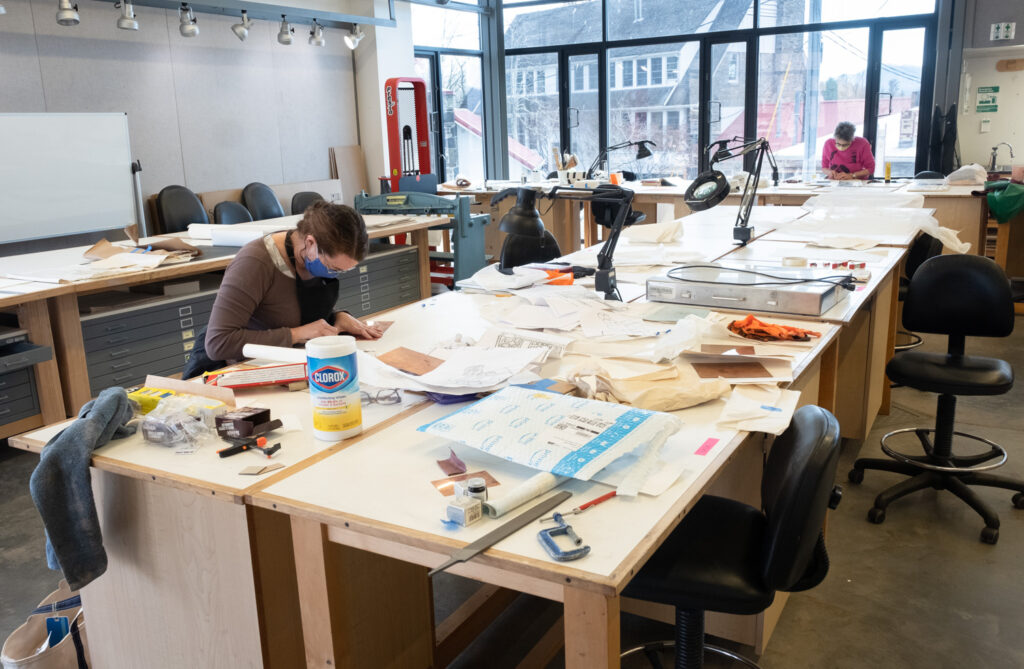 Leslie Smith and Jean McLaughlin in the Penland print studio