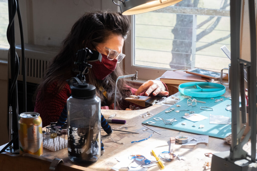 Erica Stanwytch Bailey in the Penland metals studio.