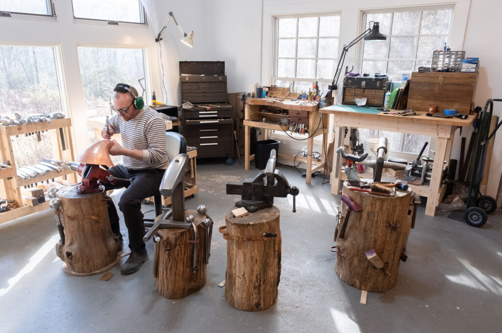 Adam Whitney in his Penland School studio