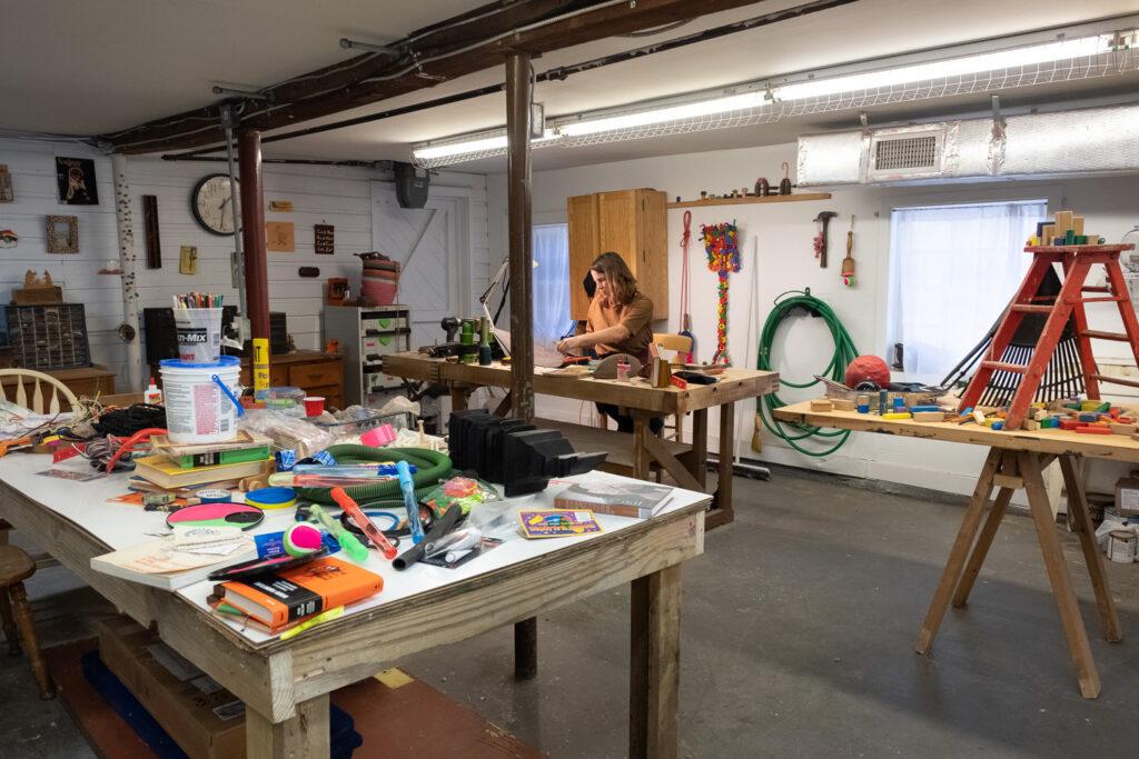 Resident artist Ellie Richards in her Penland studio
