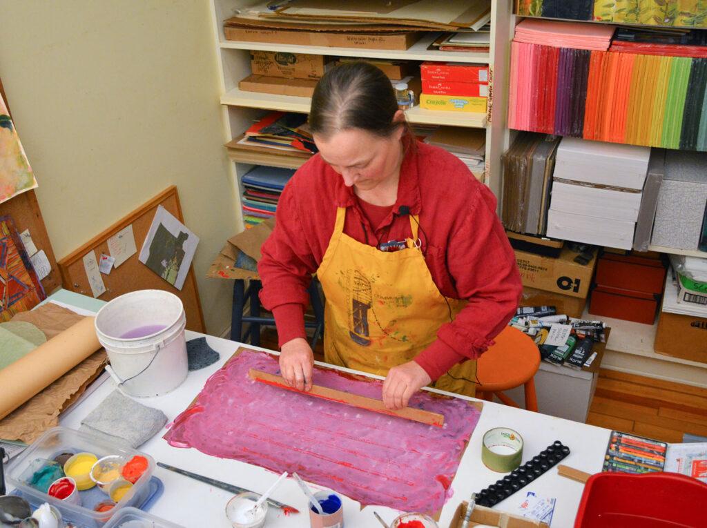 Meg Peterson with paste paper