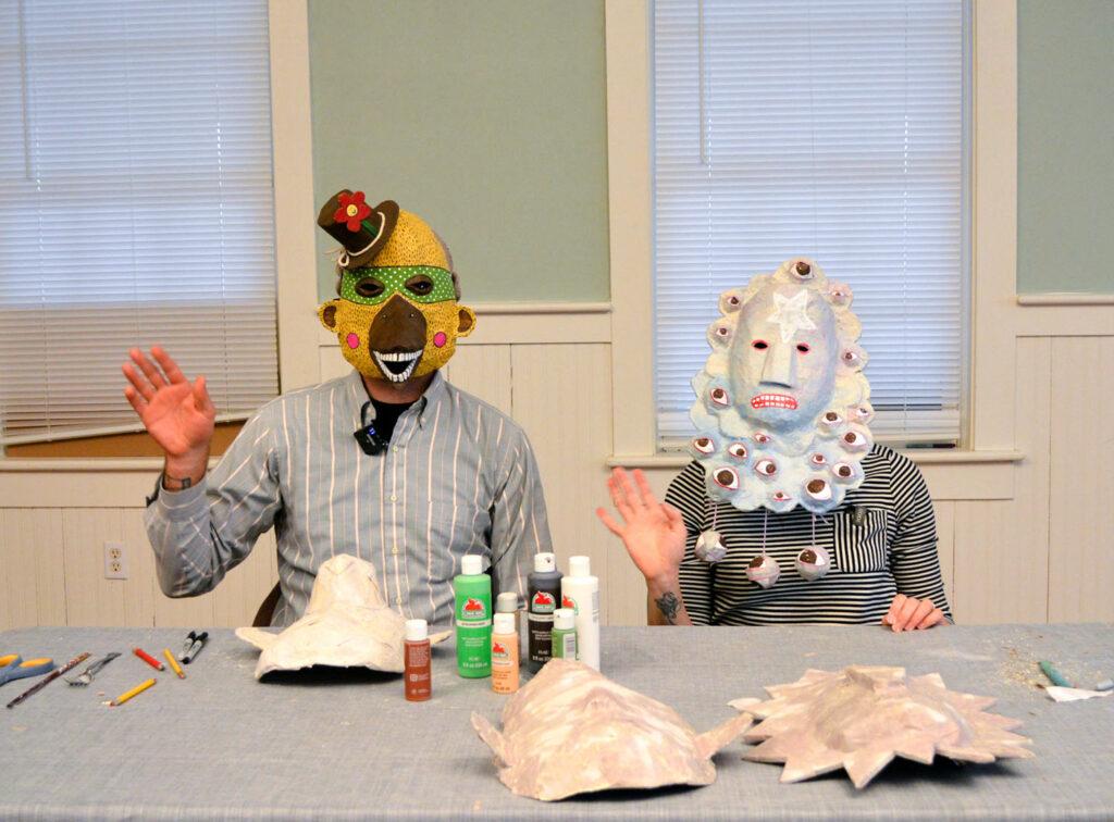 Rickie Barnett and Lynn Hobaica with masks