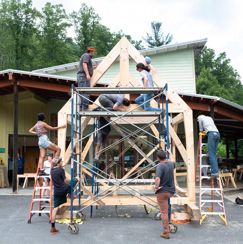 timber frame at Penland wood studio