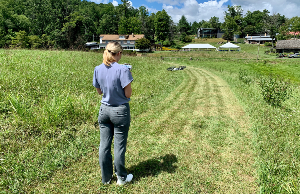 4. Special events intern Katie making a drone video for the Penland Benefit Auction!