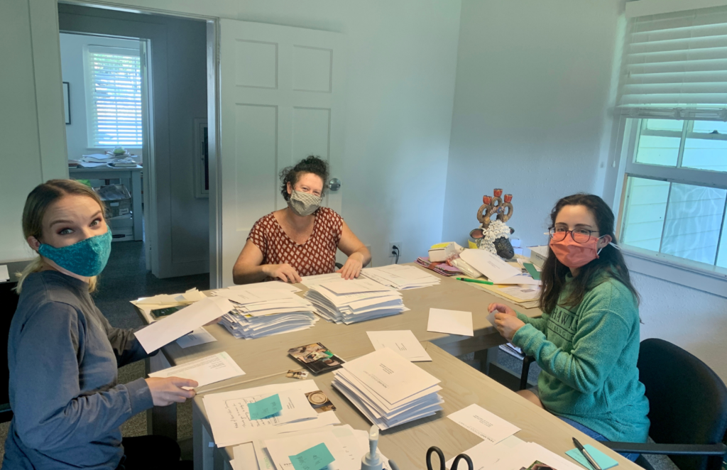 9. Special events interns Katie and Kara sending out thank you letters to scholarship supporters with special events coordinator Marianna Pop