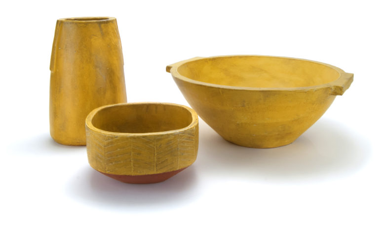 Left to right: Vase in Amber, 9.5 x 7 x 5.5 in. |  Square Server, 4.5 x 8 x 7.625 in. | Deep Dough Bowl, 16 x 16 x 15.5 in.