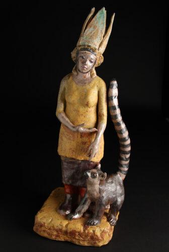 Caroline Douglas, Tail of Original Kindness, cone 10 salt-fired stoneware, slips, glazes, 25 x 17 x 19 inches