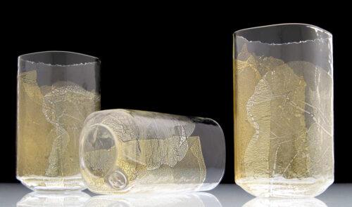 Dan Mirer, Gold-Leaf Drinking Ware, mold-blown glass, 23k and 12k gold leaf