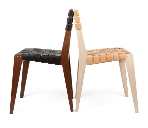Christina Boy, Chair 220, maple, walnut, leather strapping, 30 x 16 x 18 inches each