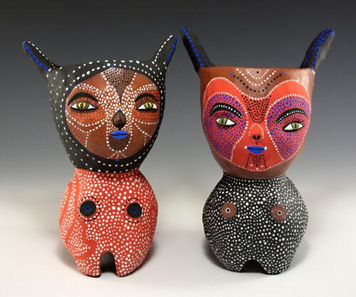Jenny Mendes, Two Chalices, low-fire clay, underglaze, slip, glaze, terra sigillata, 9 x 8 x 4 inches.