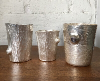 Suzanne Pugh, Stump Cups, sterling silver, tallest: 3 inches