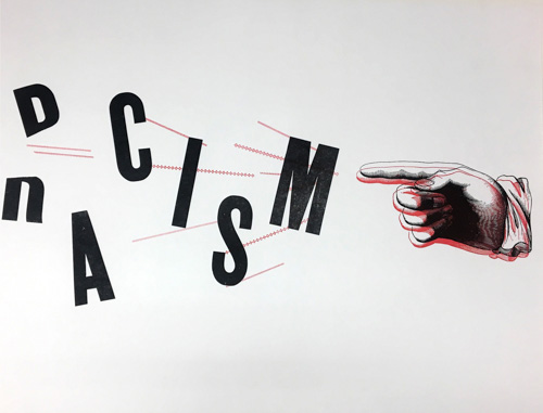 """Print of the word """"racism"""" coming apart in the air"""