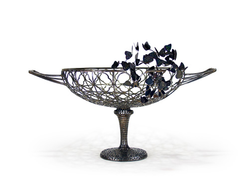 wire metal basket with handles and stand